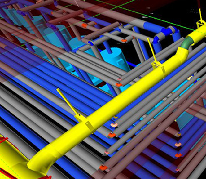 3D plumbing BIM model drawn with pitch, insulation, valves and connections