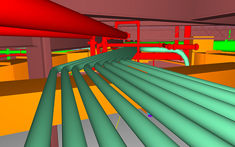 BIM model showing cables and electrical equipment