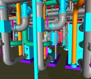 BIM model of mechanical pipe inside boiler room