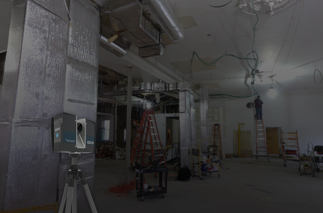 3D scanner in front of construction site