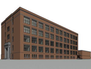 Architectural Model of Brick Building with Windows