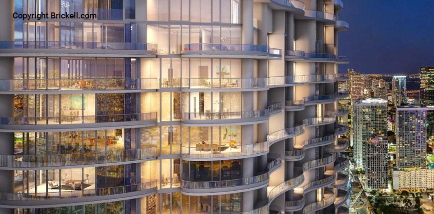 The Brickell Flatiron luxury condos in Miami, Florida.
