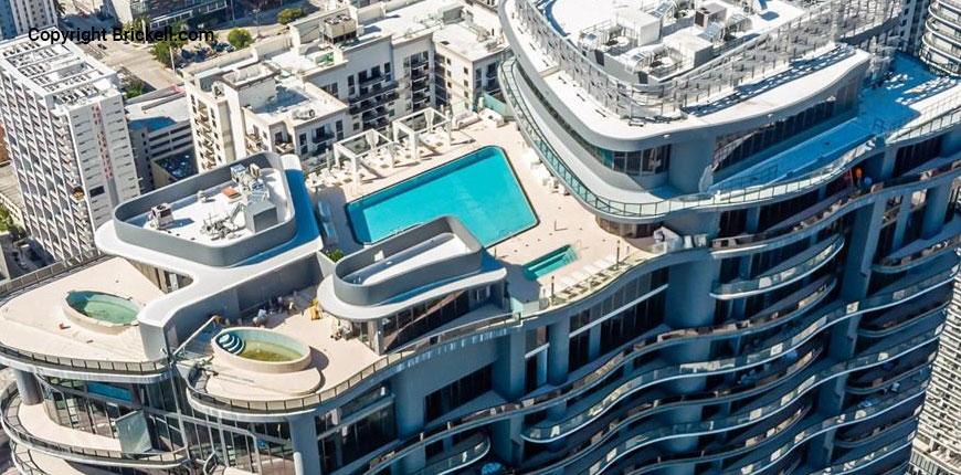 Sky view of the Brickell Flatiron luxury condos in Miami, Florida.