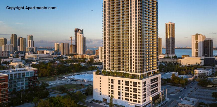 Vertical view of CANVAS Miami luxury condos in Miami, Florida.