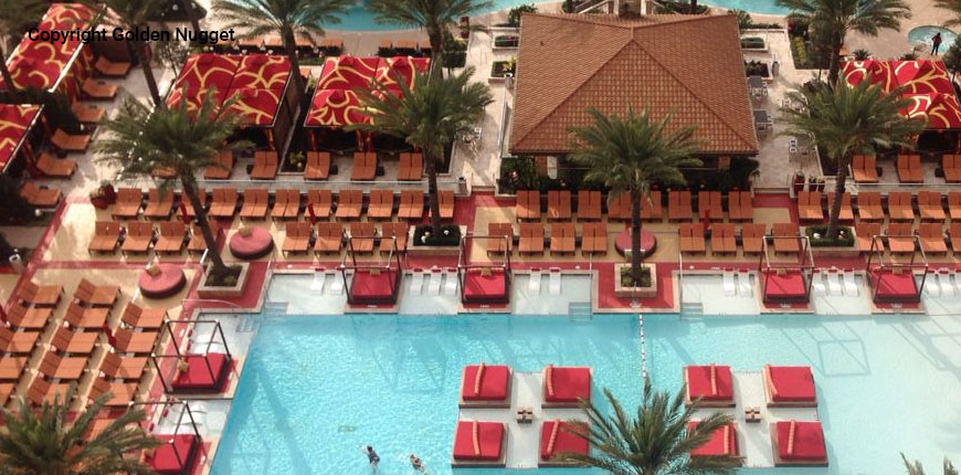 Above view of the pool at the Golden Nugget Lake Charles Hotel & Casino in Lake Charles, Louisiana.