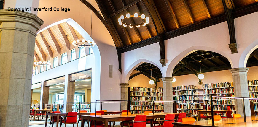 Inside of Haverford College Library in Haverford, Pennsylvania.