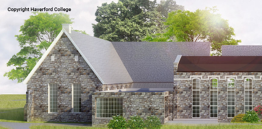 Front view rendering of the Haverford College Library in Haverford, PA.