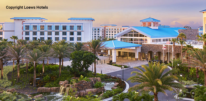 Outside view of the Sapphire Falls Resort in Orlando, FL.