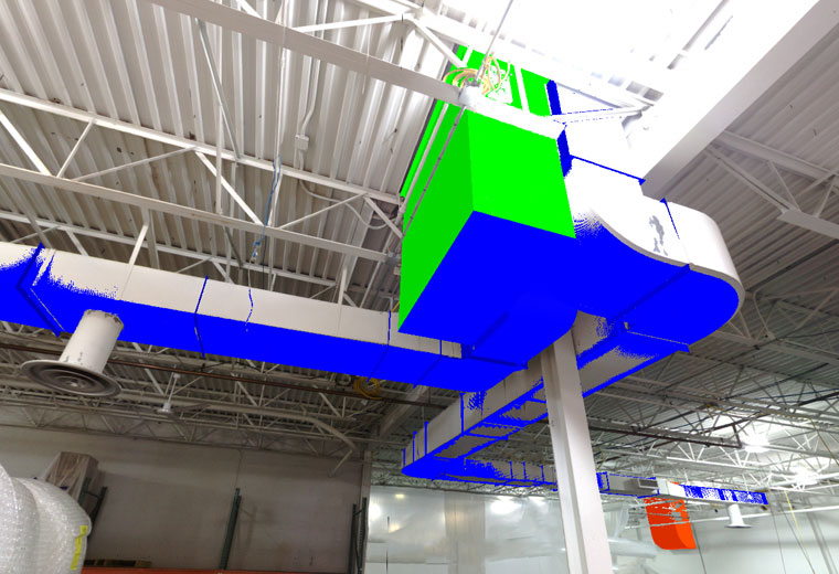 BIM model of ductwork layered into a 3d scan created by DJM Design CAD & Coordination with a Faro 3D laser scanner