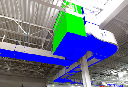 3D Scan of duct with BIM model layered on top