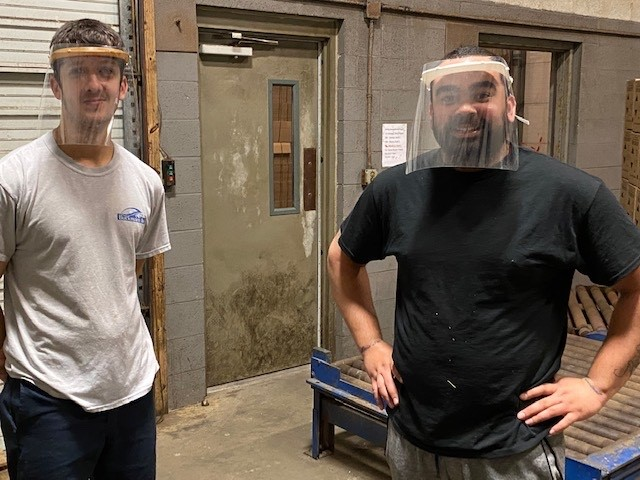 Face shields in use at Buckman's factory