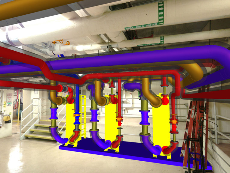 3D scan with mechanical pipe BIM layered over it by DJM Design CAD & Coordination