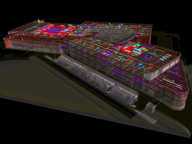Colorful BIM model of multipurpose facility